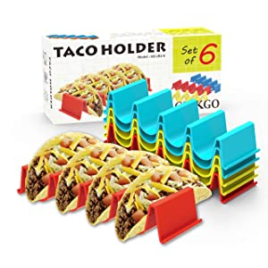GINKGO Taco Holder Stand Set of 6 - Taco Truck Tray Style Rack Holds Up to 4 Tacos Each, PP Health Material Very Hard and Sturdy, Dishwasher Top Rack Safe, Microwave Safe