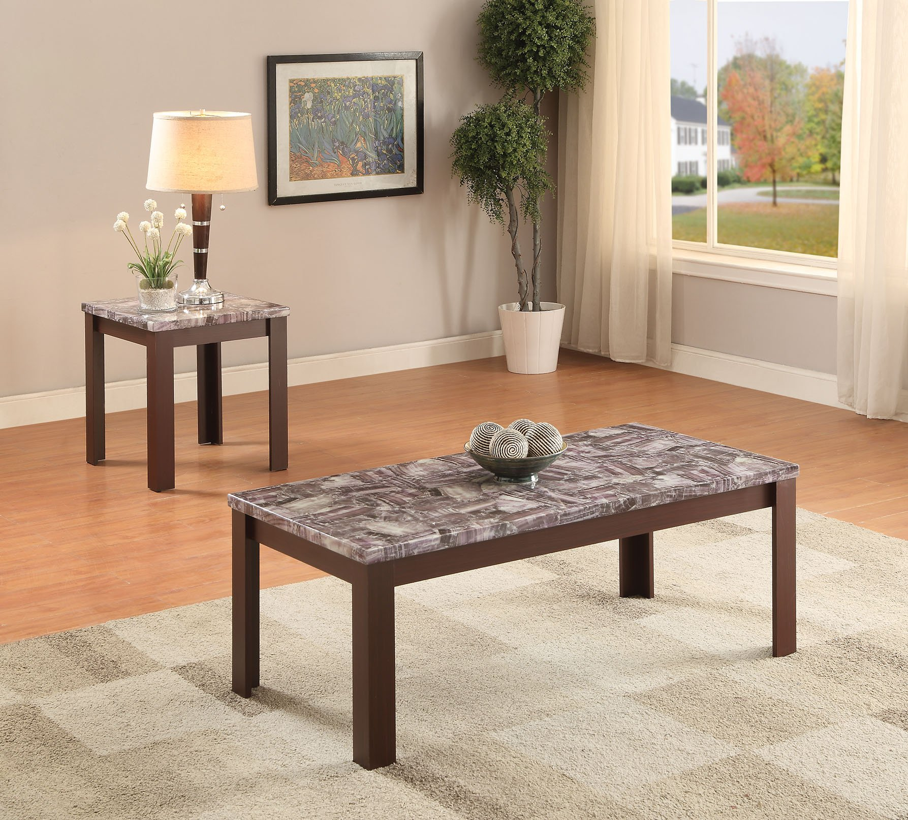 ACME Furniture 82136 2 Piece Arabia Coffee/End Table Set, Faux Marble & Cherry