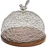 Godinger Wood Cake Tray with Nest Dome Bird Finia Platter Server Holiday Decoration Table Centerpieces