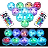 10Pcs Remote Submersible LED Lights Tea Lights Underwater Lights Battery Powered Flameless LED Accent Light for Party…