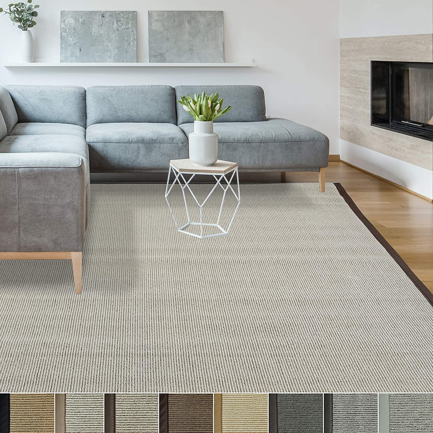iCustomRug Zara Synthetic Sisal Collection Area Rug and Custom Size Runners, Softer Than Natural Sisal Rug, Stain Resistant & Easy to Clean Beautiful Border Rug in Brown 2' X 5'