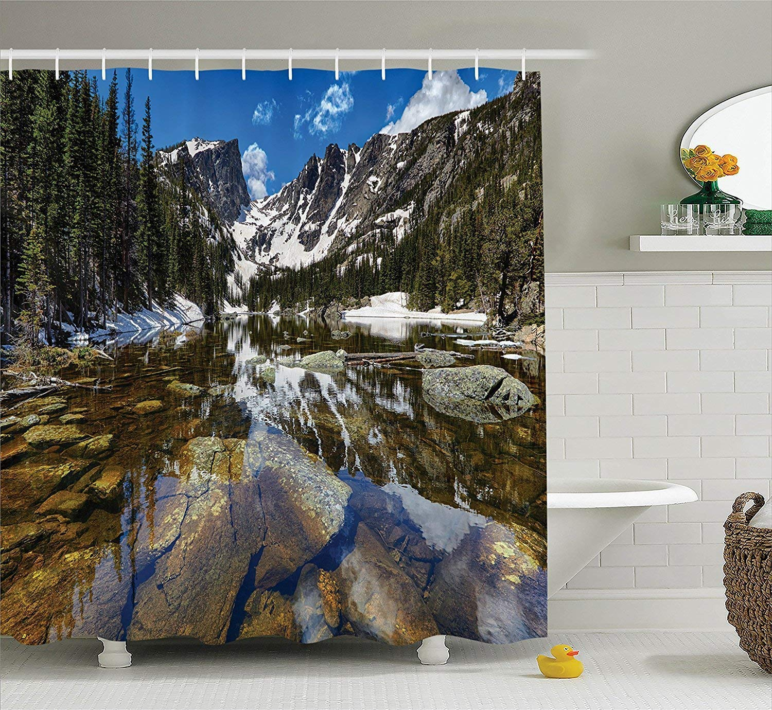 Diversión sexy werert Decor Lake House Decor werert Shower Curtain Set, Dream Mirroring Lake at The Mountain Park in West America River Snow Away Photo, Bathroom Accessories,verde Marrón Blue 60 X 72 f67e98