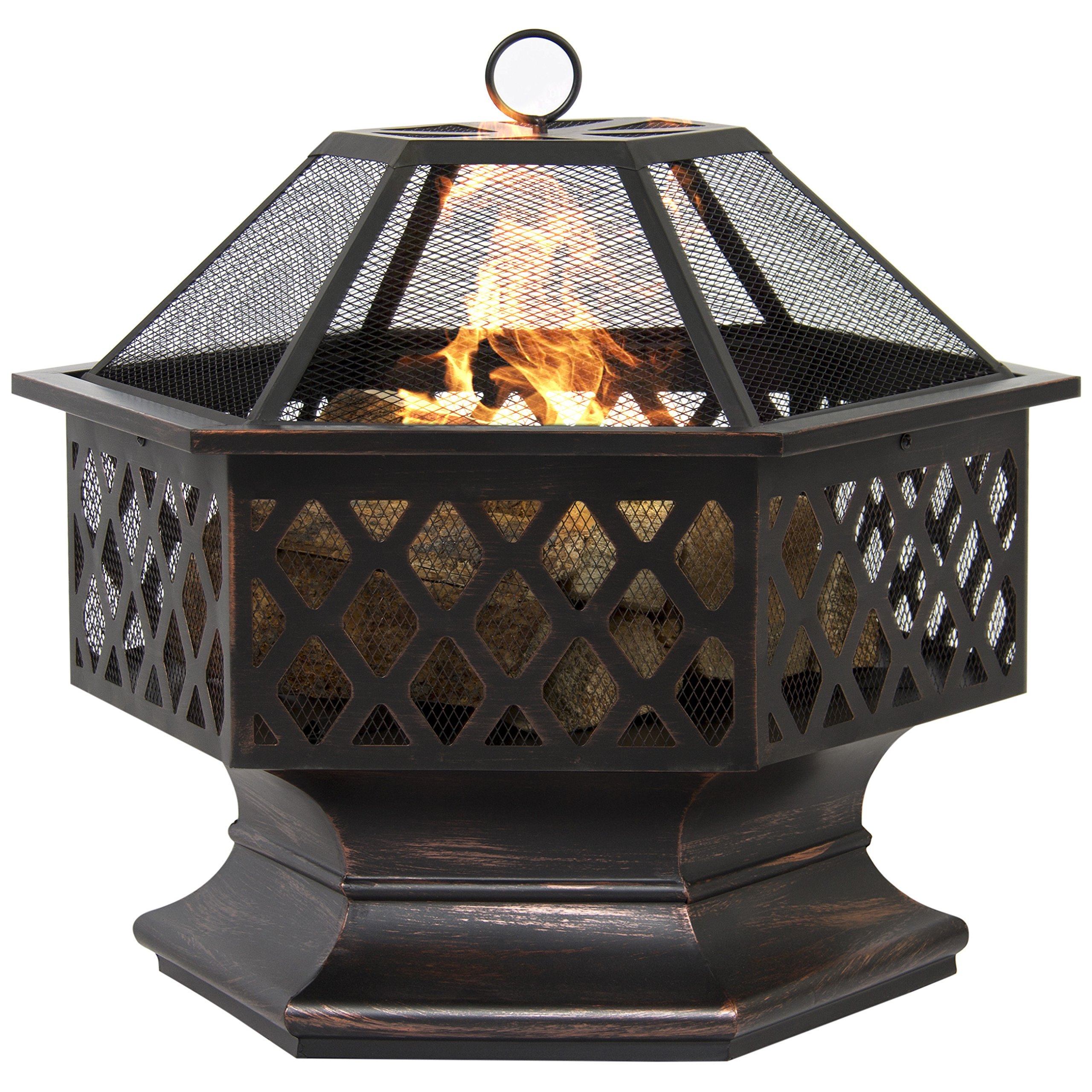 Outdoor Heating Fire Pit Hex Shaped External Home Garden Backyard