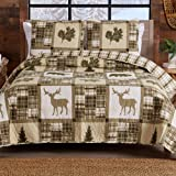 Lodge Bedspread King Size Quilt with 2 Shams. Cabin 3-Piece Reversible All Season Quilt Set. Rustic Quilt Coverlet Bed Set. S