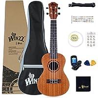 Winzz Concierto Ukelele de Caoba 23 Pulgadas con Cuerdas Aquila de Nylon Kit de Iniciación para Principantes con Bolsa, Sintonizador, Cuerdas Extras, Correa, Púas y Otros Regalos
