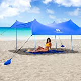 Red Suricata Family Beach Sunshade - Sun Shade Canopy | UPF50 UV Protection | Tent with 4 Lightweight Aluminum Poles, 4 Sandbag Anchors | Large & Portable Shelter Tarp (Medium, Blue)