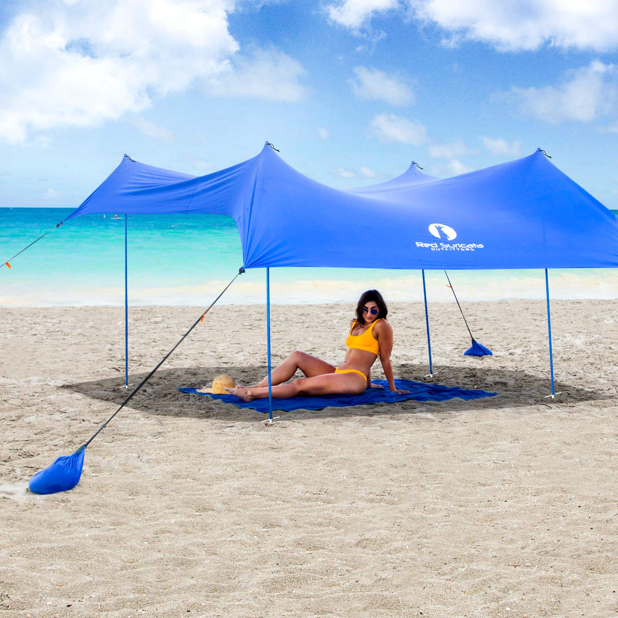 Red Suricata Family Beach Sunshade - Sun Shade Canopy | UPF50 UV Protection | Tent with 4 Aluminum Poles, 4 Pole Anchors, 4 Sandbag Anchors | Large & Portable Shelter Tarp (Blue, Medium) by Red Suricata