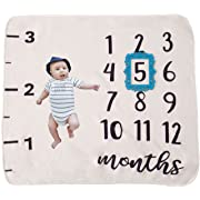 MyBB Monthly Milestone Baby Blanket: Premium Quality and Density, Photography Prop/Set for Boys or Girls, Background for Infants, Swaddle Throw for Newborn, Baby Shower Gift