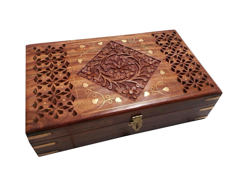IndiasBigShop regalo di giorno del padre Legno che intaglia Box Intarsi Jali lavoro, 10X6 pollici Vintage Box. IndiaBigShop IBS0472