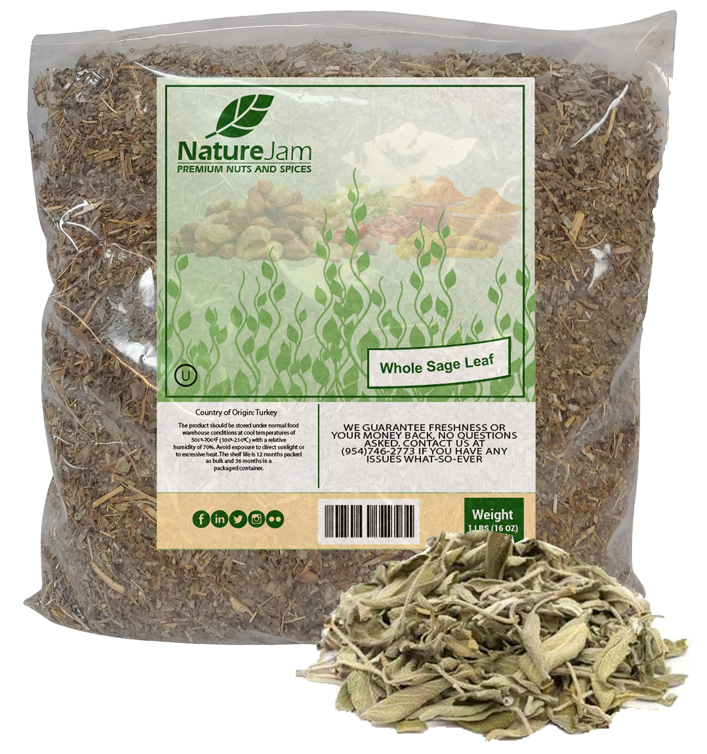 KOSHER BURNING Sage CRUSHED Leaves - Smudged and Rubbed for Incense Salvia officinalis Herbs For Tea (1 Pound)