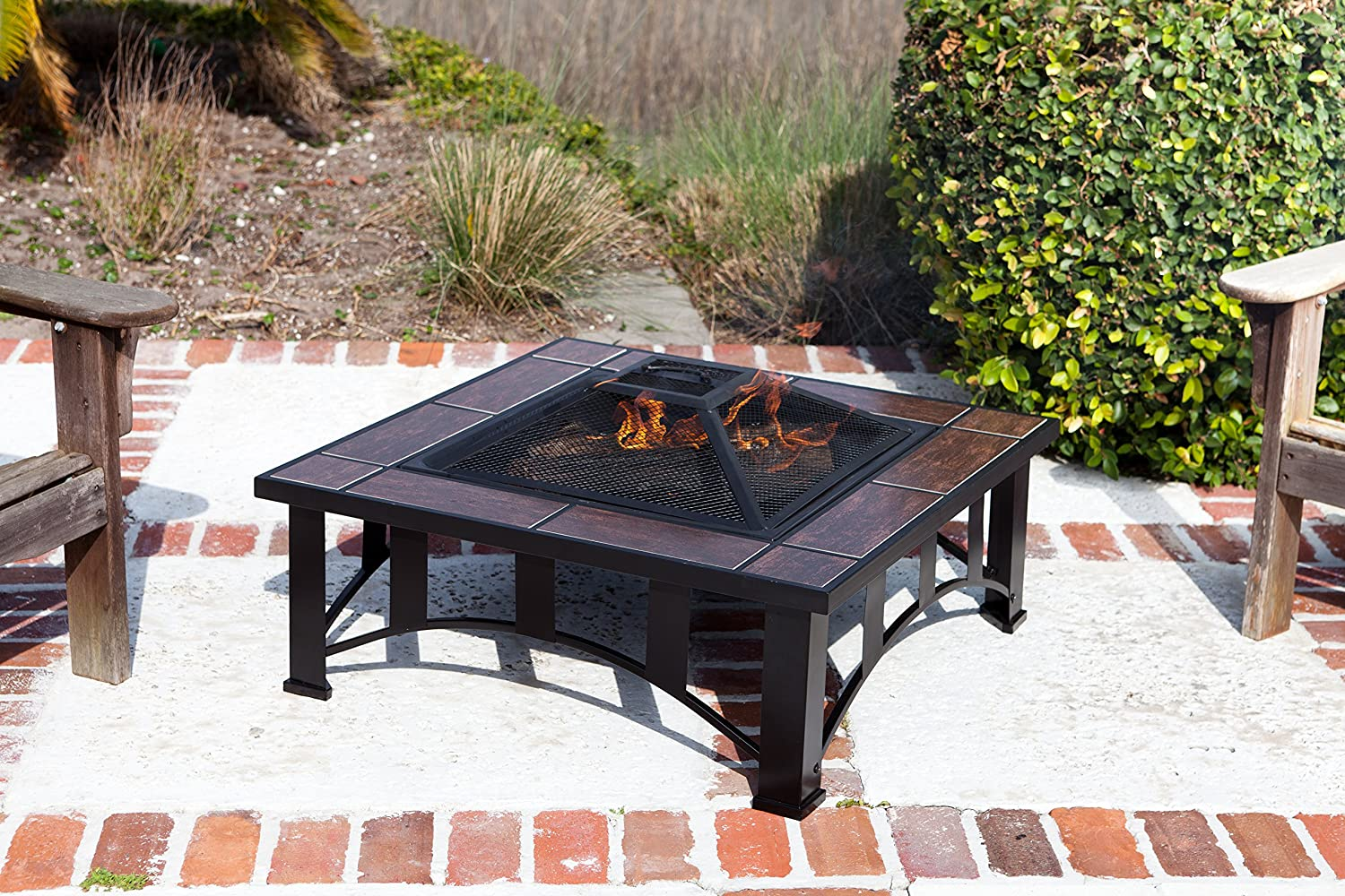 Amazon.com : Fire Sense Mission Style Square Fire Pit : Outdoor Fire Pits  Wood Burning : Garden U0026 Outdoor