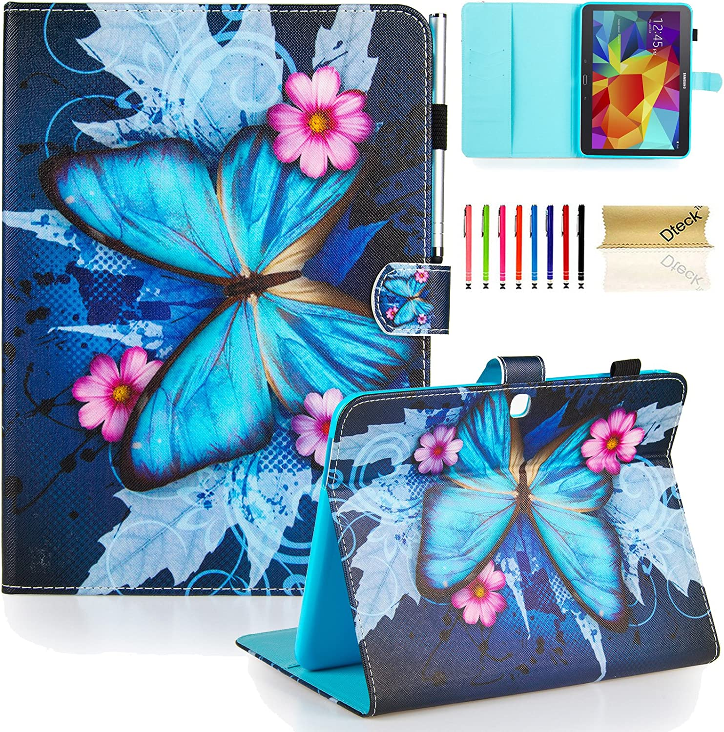 Galaxy Tab 4 10.1 Case,T530 Case,Dteck(TM) Slim Flip Stand Case with Cards Slots [Auto Wake/Sleep Feature] Magnetic Smart Shell Cover for Samsung Galaxy Tab 4 10.1 SM-T530/T530/T531,Blue Butterfly