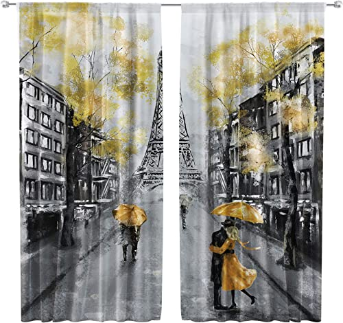 Riyidecor Oil Painting Paris Curtain Eiffel Tower Rod Pocket Art Landscape France European City Couple Black Yellow Printed Living Room Bedroom Window Drapes Treatment Fabric 2 Panels 42 x 63 Inch