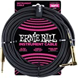 "Ernie Ball Instrument Cable, Gold 1/4"" Right Angle, Black, 10 ft. (P06081)"