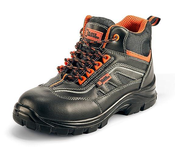 Botas De Trabajo S3 con Puntera De Composite Sin Metal Plantilla Kevlar Cuero Black Hammer 8852: Amazon.es: Zapatos y complementos