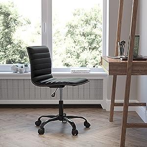 Flash Furniture Office Task Chair - Black Vinyl - Black Frame - Armless - Ribbed Back and Seat - Low Back Design