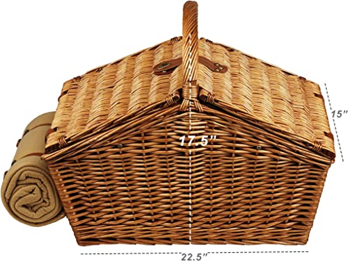 Picnic at Ascot Huntsman English-Style Willow Picnic Basket with Service for 4, Coffee Set and Blanket- Designed, Assembled Quality Approved in the USA