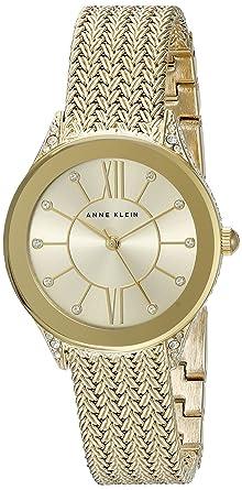 27a92e001 Anne Klein Women's AK/2208CHGB Swarovski Crystal Accented Gold-Tone Mesh Bracelet  Watch
