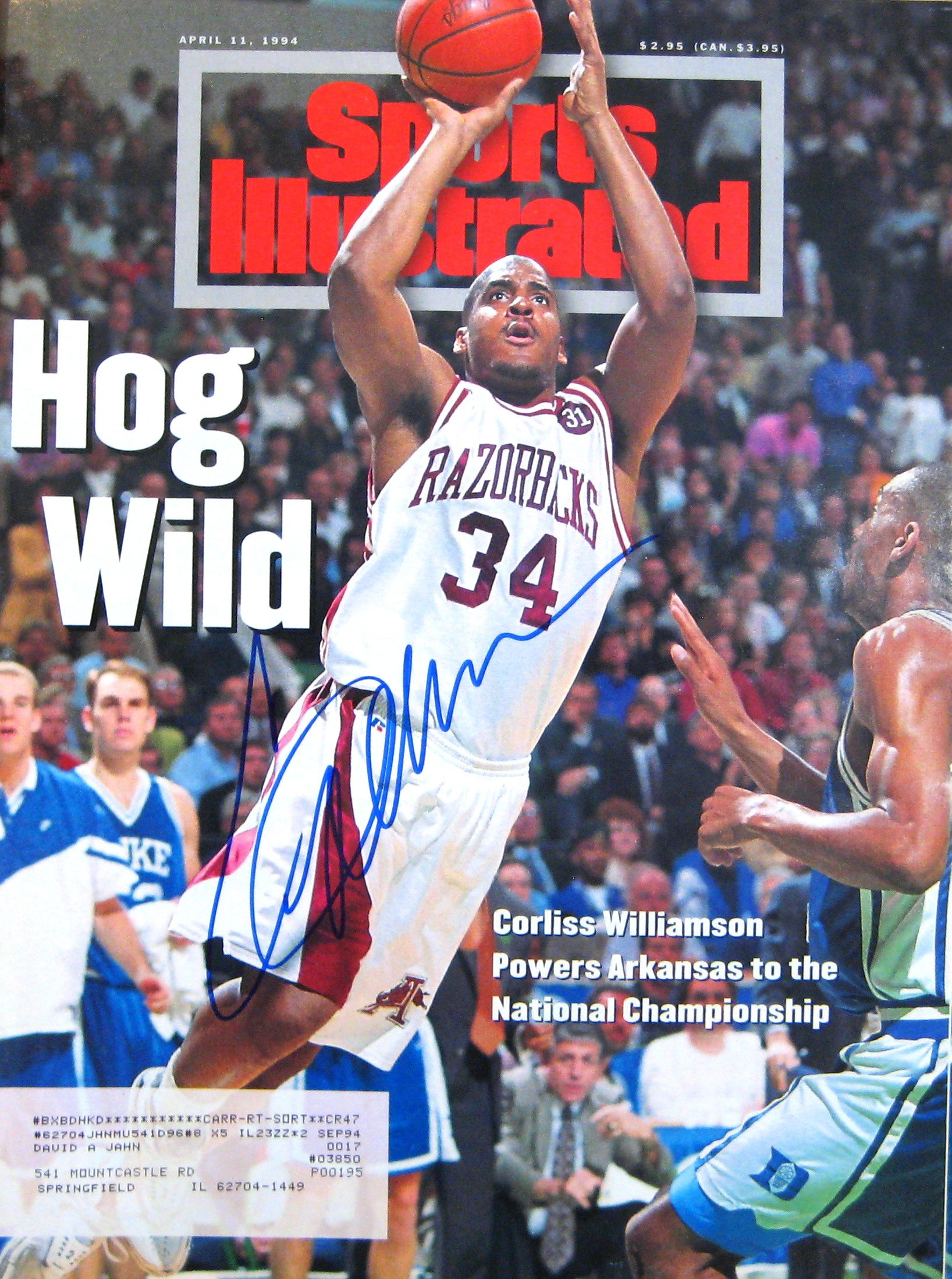 Williamson, Corliss 4/11/94 autographed magazine