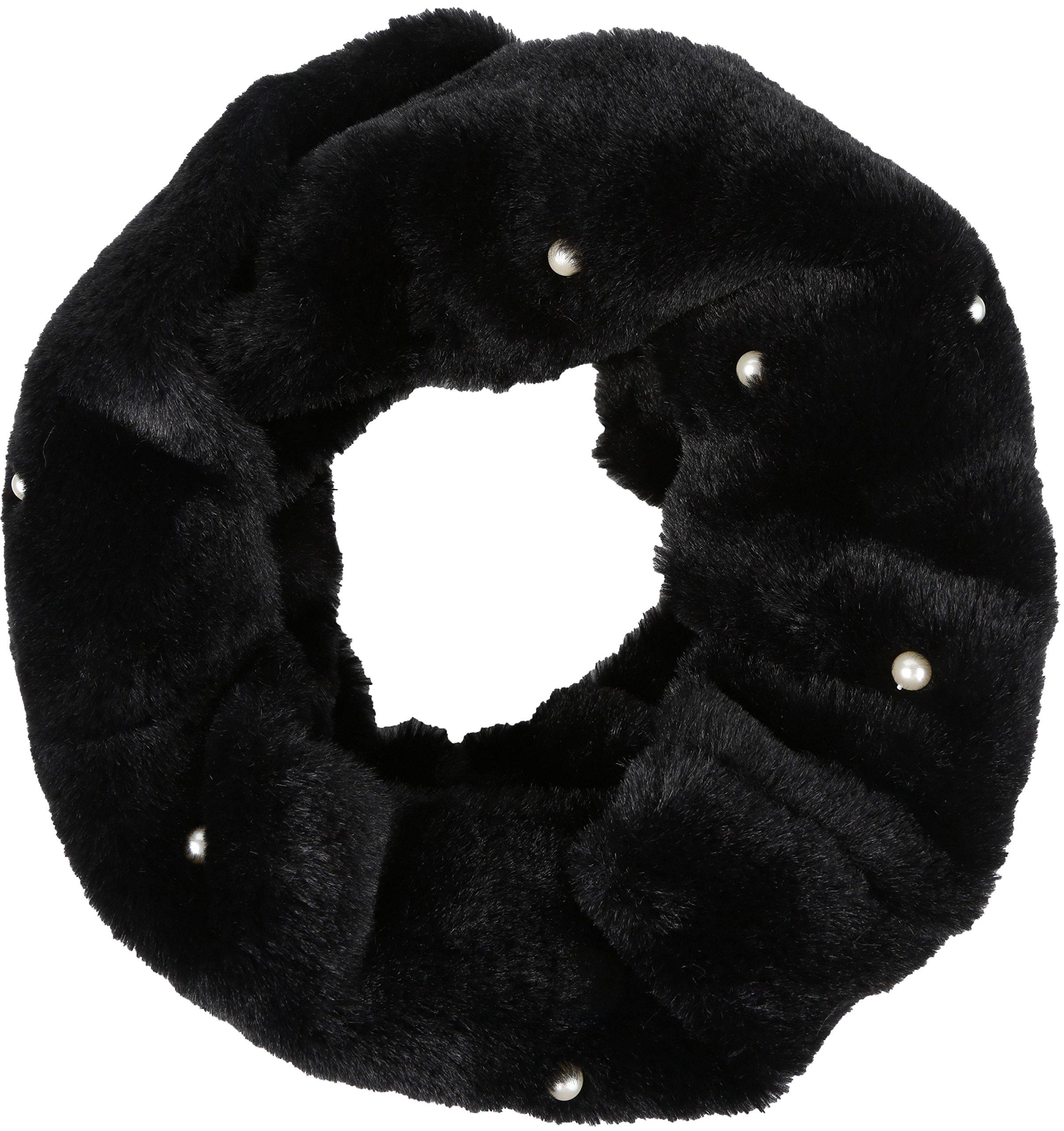 Sakkas 16104 - Sabby Long Thin Faux Fur Pearl Embellishment Warm Soft Infinity Scarf - Black - OS