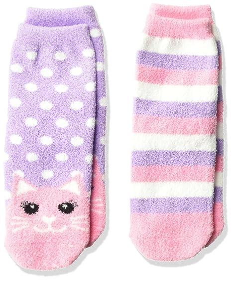 e33a7361505 Amazon.com  Jefferies Socks Girls  Little Cat and Stripe Fuzzy Non-Skid  Cozy Socks 2 Pair Pack