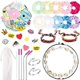 PANTIDE 65Pcs VSCO Stuff Set-VSCO Stickers, Velvet Hair Scrunchies, Shell Necklace Choker, Wave Rings, Nepal Woven…