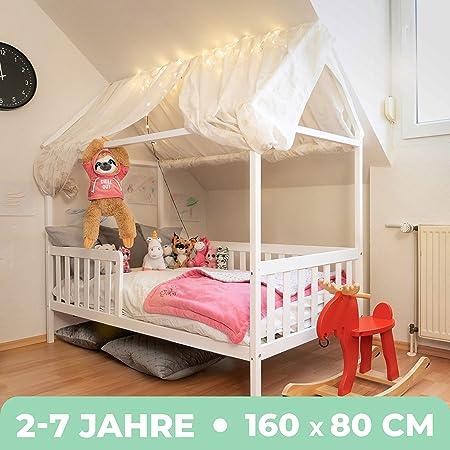 Alcube Hausbett 160x80 Cm Stabiles Kinderbett Mit Rausfallschutz Und Lattenrost Weiß Lackiertes Spielbett Aus Pinienholz Für Jungen Und Mädchen