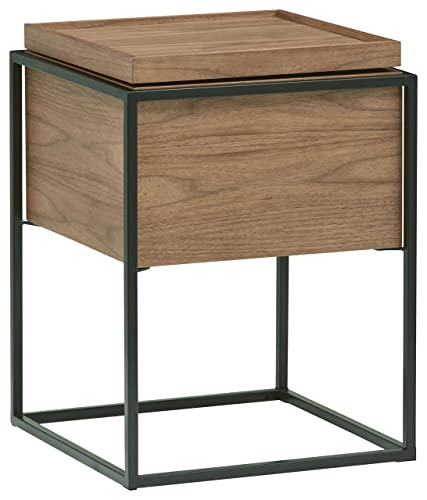 Rivet Axel Lid Storage Wood and Metal Side End Table Nightstand, Walnut