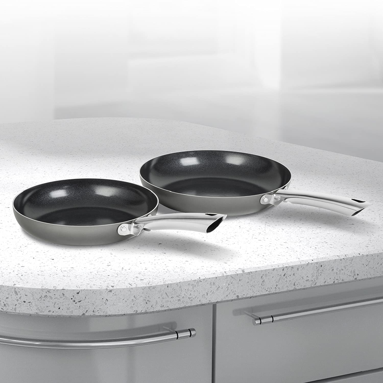 Morphy Richards Accents Frying Pan Set With Easy Clean Non Stick Ceramic Coating, Easy Clean Non Stick Ceramic Coating, Titanium, 2 Piece 973015