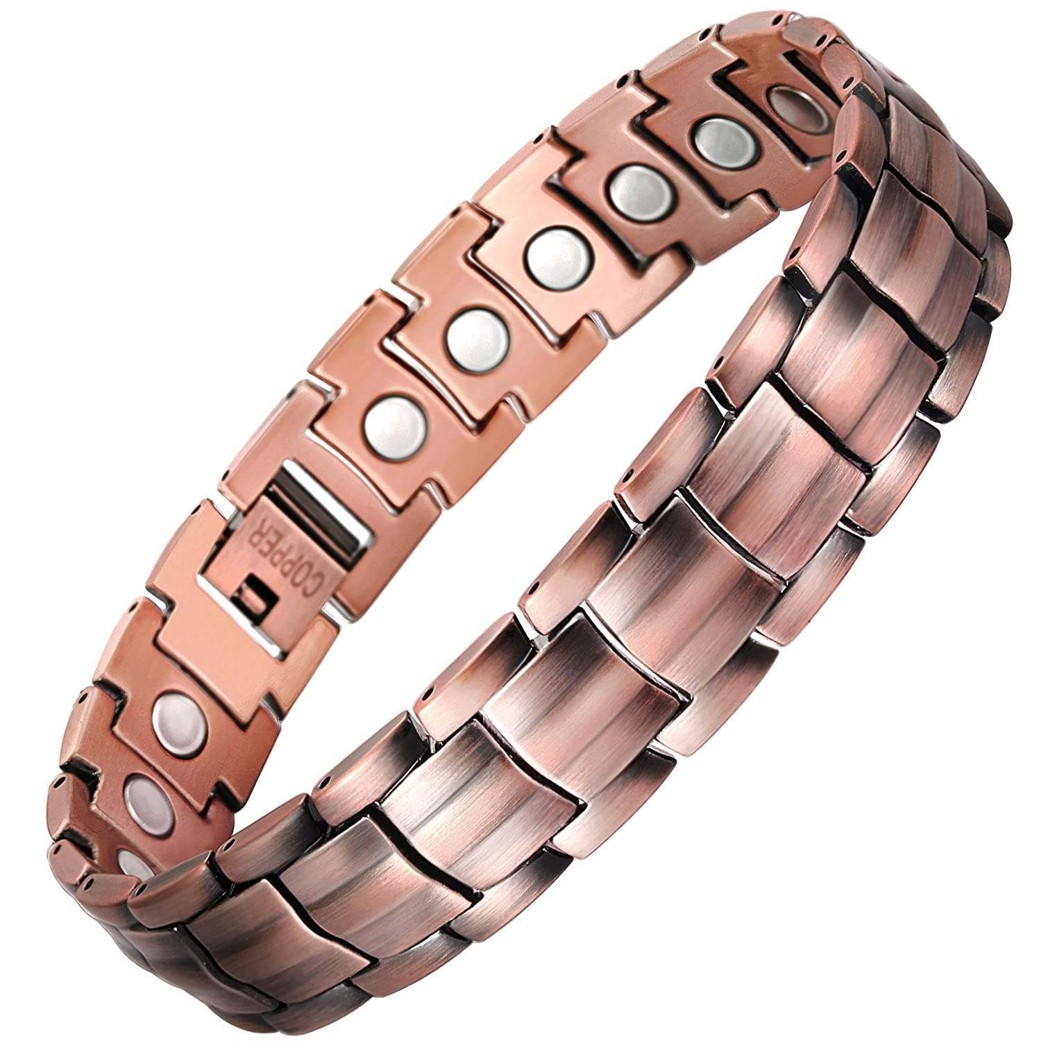 VITEROU Mens Magnetic Pure Copper Bracelet with Healing Magnets Pain Relief for Arthritis,3500 Gauss UKTRCOR-034