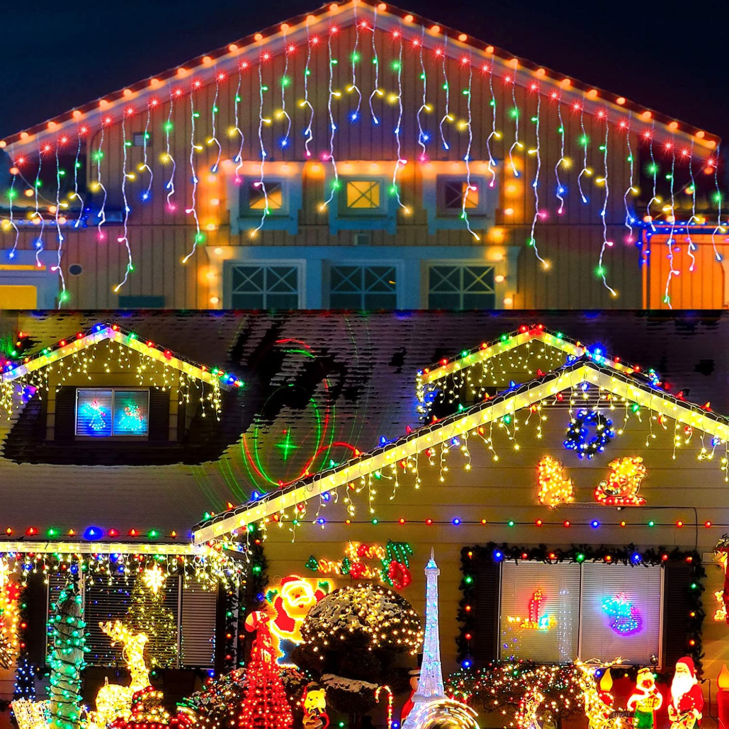LED Icicle Lights, 640 LED Christmas Lights, 65.6FT 8 Modes Plug in Fairy String Lights with 120 Drops for Indoor Bedroom Outdoor Window, Party Decorations (Multicolored)