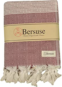 Bersuse 100% Cotton Hierapolis XL Blanket Turkish Towel, 60X95 Inches, Burgundy