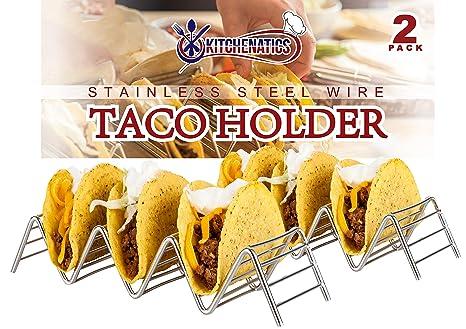 Soporte Para Tacos Mexicanos: 2 Bandejas Metálicas de Alambre Para Servir Tacos de Concha Blanda