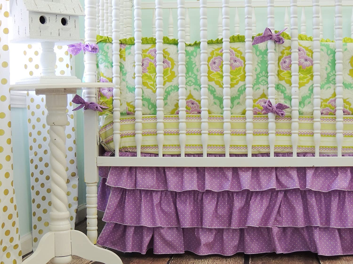 Tushies and Tantrums Boutique Crib Set, Emerald Green and Orchid by Tushies and Tantrums   B00JUR4LGI