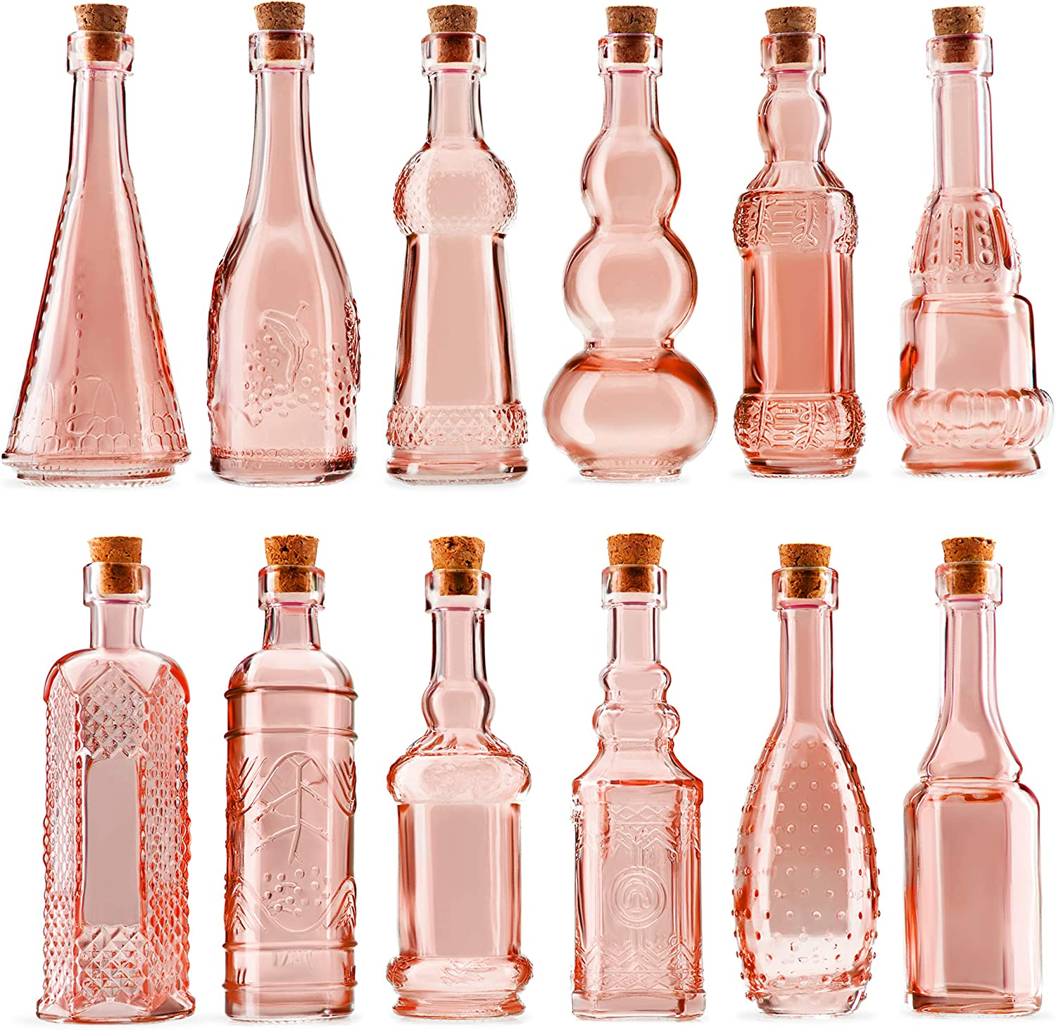 BULK PARADISE Mini Reddish Pink Vintage Potion Bottles with Corks Assorted Shape - Bud Vases and Decorations, Set of 12 pcs, 4.6 Inch Tall (11.43cm), 1.4 Inch Wide (3.56cm)