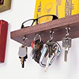 "Rackless - Floating, Wall Mounted Shelf and Magnetic Key Rack, In 10"" Solid Walnut Wood"