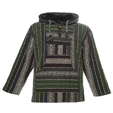 540ef1b597feb0 KUNST UND MAGIE Nepal Baja Jerga Sweatshirt Poncho mit Fleecefutter Kapuze,  Größe:S,