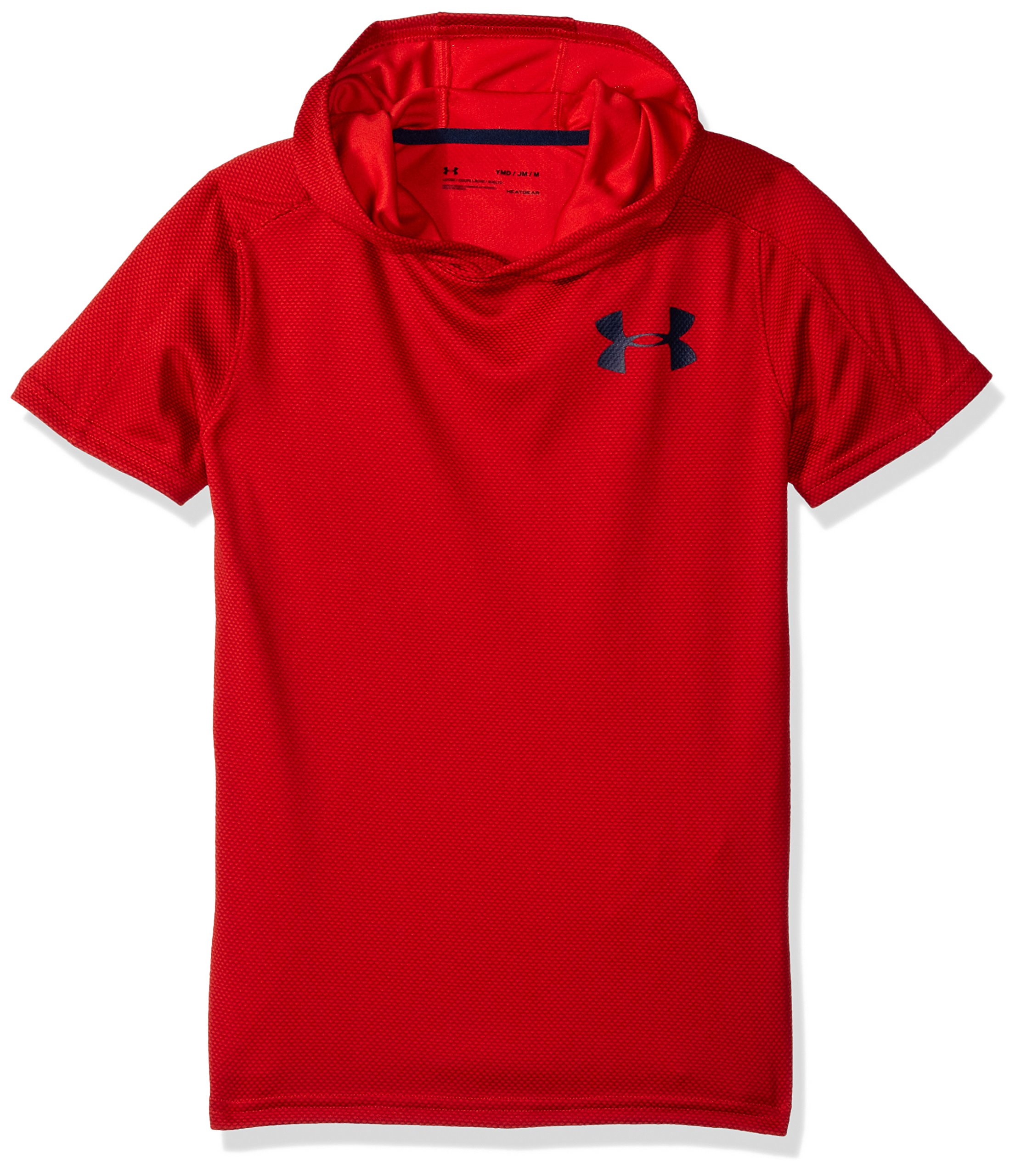 Under Armour Boys' Tech Textured Short Sleeve Hoodie, Red (600)/Academy, Youth X-Large by Under Armour