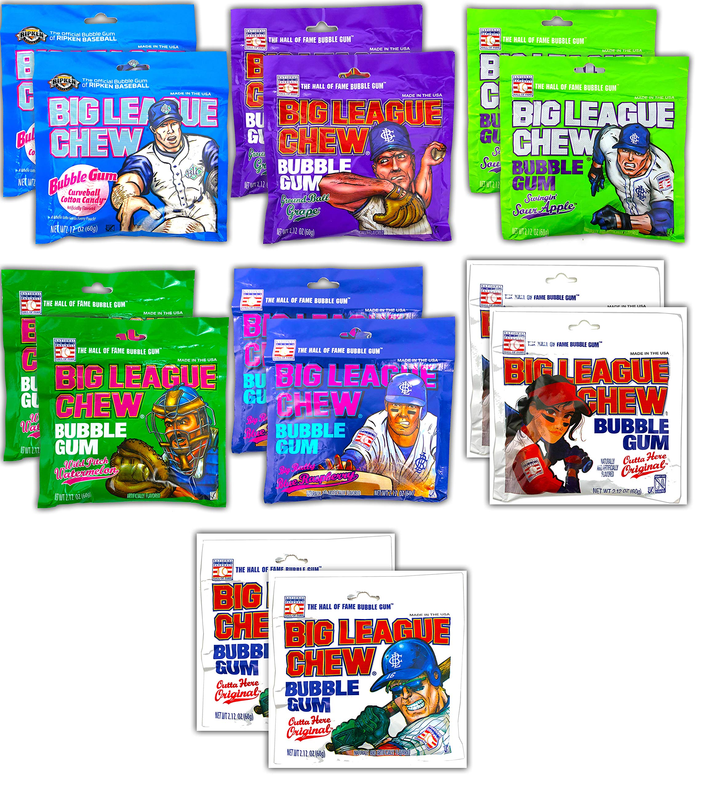 Big League Chew Bubble Gum Variety Pack 7 Flavors - Gum Packs for Softball Teams, Little League Teams, Baseball Teams and Baseball Fans (14 Pack) by Tru Inertia