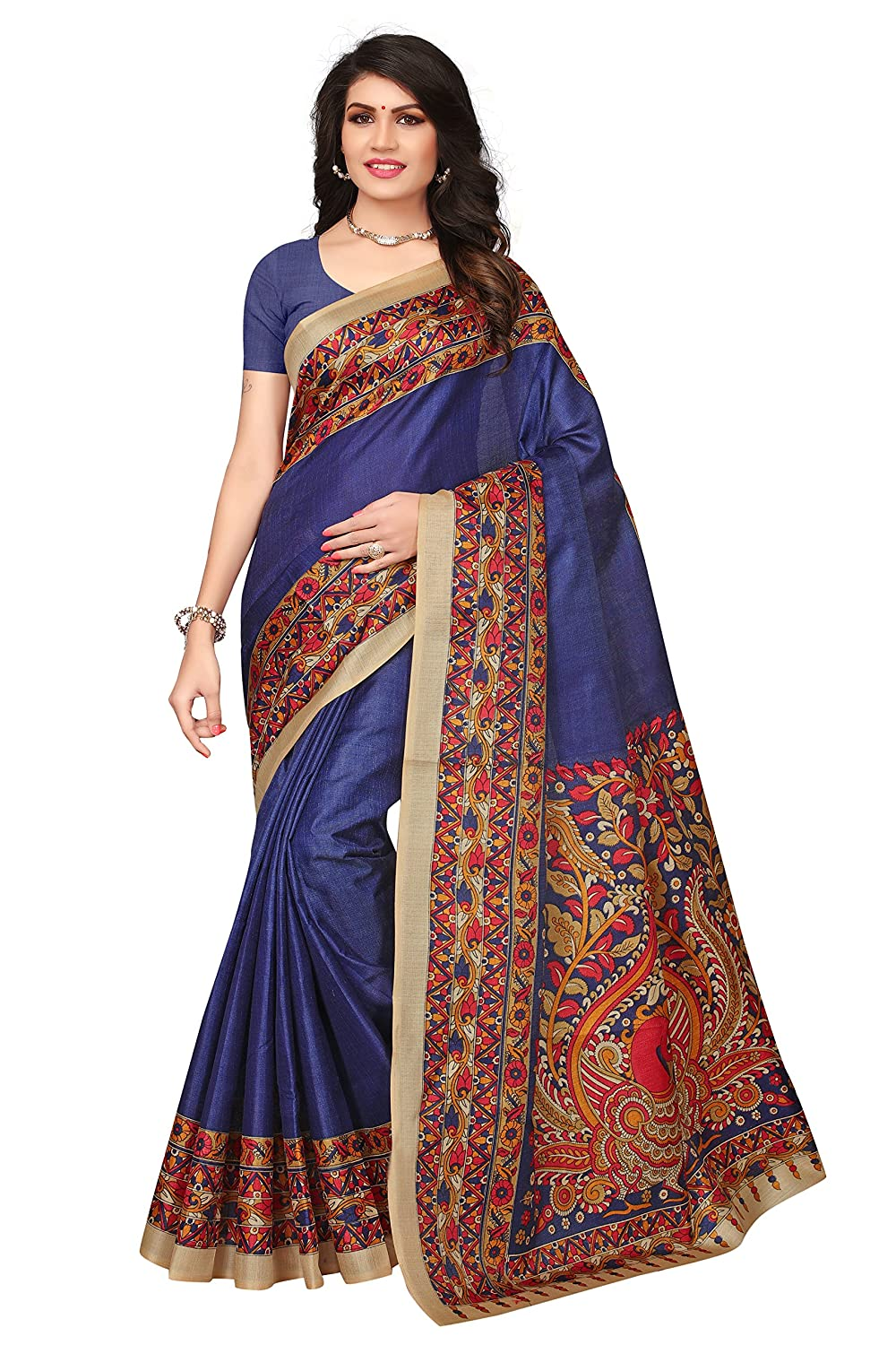 Shonaya Women`S Blue Colour Khadi Jute Silk Printed Saree RTKJS-1016
