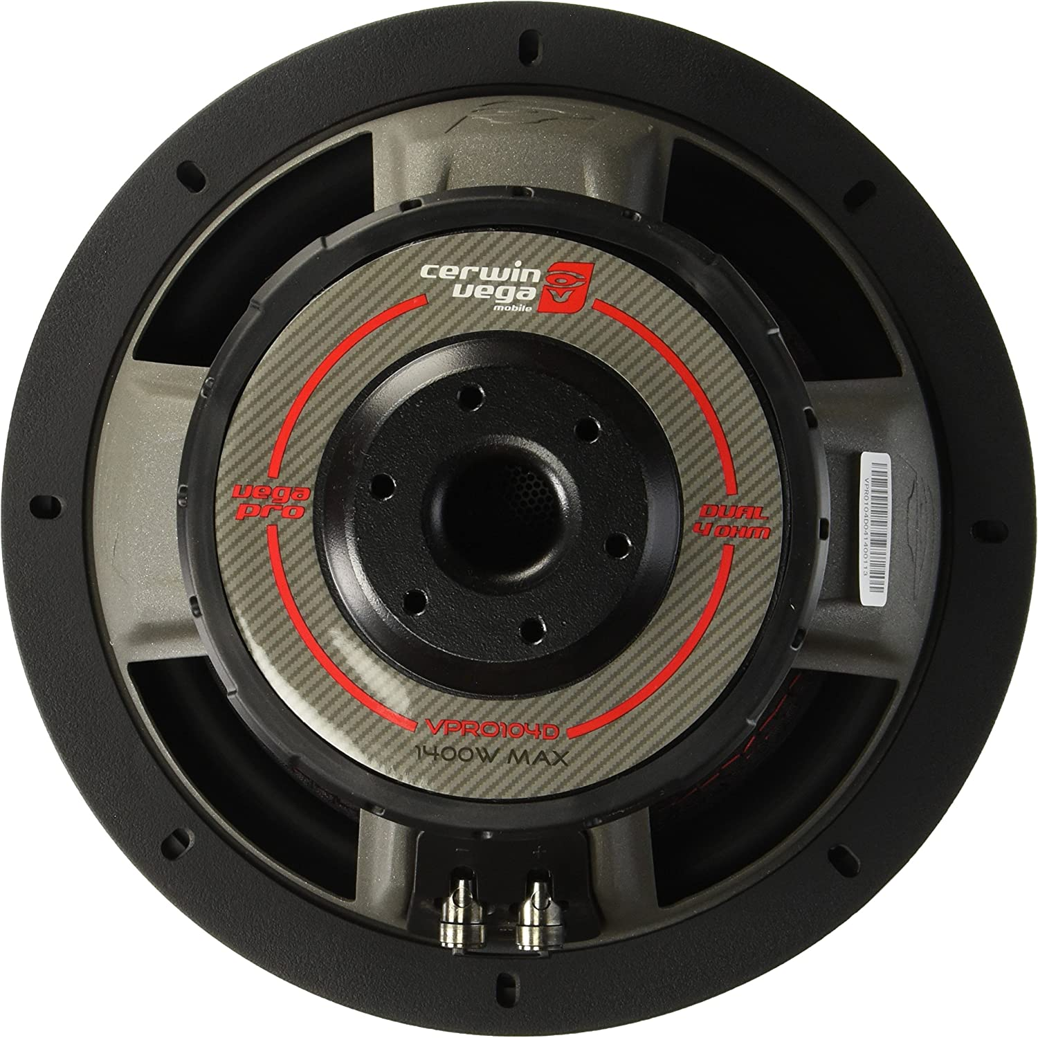 CERWIN VEGA VPRO104D Pro 1400 Watts Max 10-Inch Dual Voice Coil Subwoofer 4 Ohms//700 Watts Power Handling