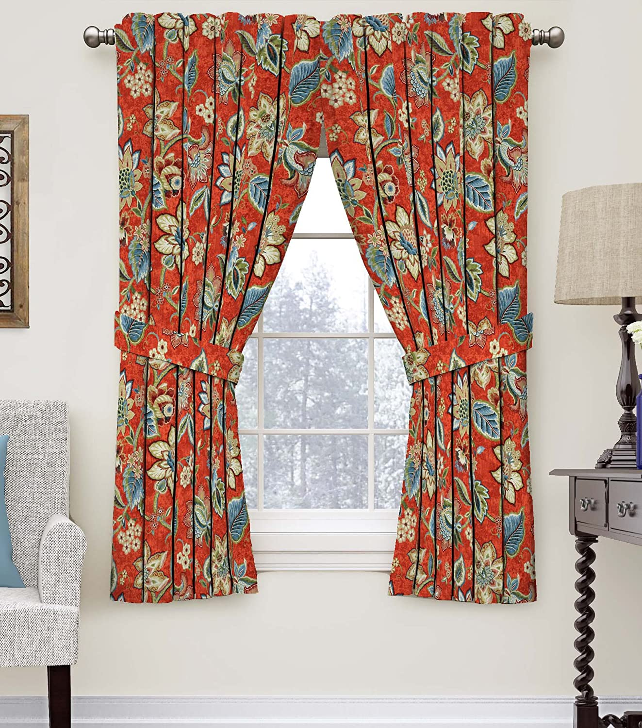Waverly 15394052063FLX Floral Window Curtain, 52 x 63, Flax 52 x 63 Ellery Homestyles
