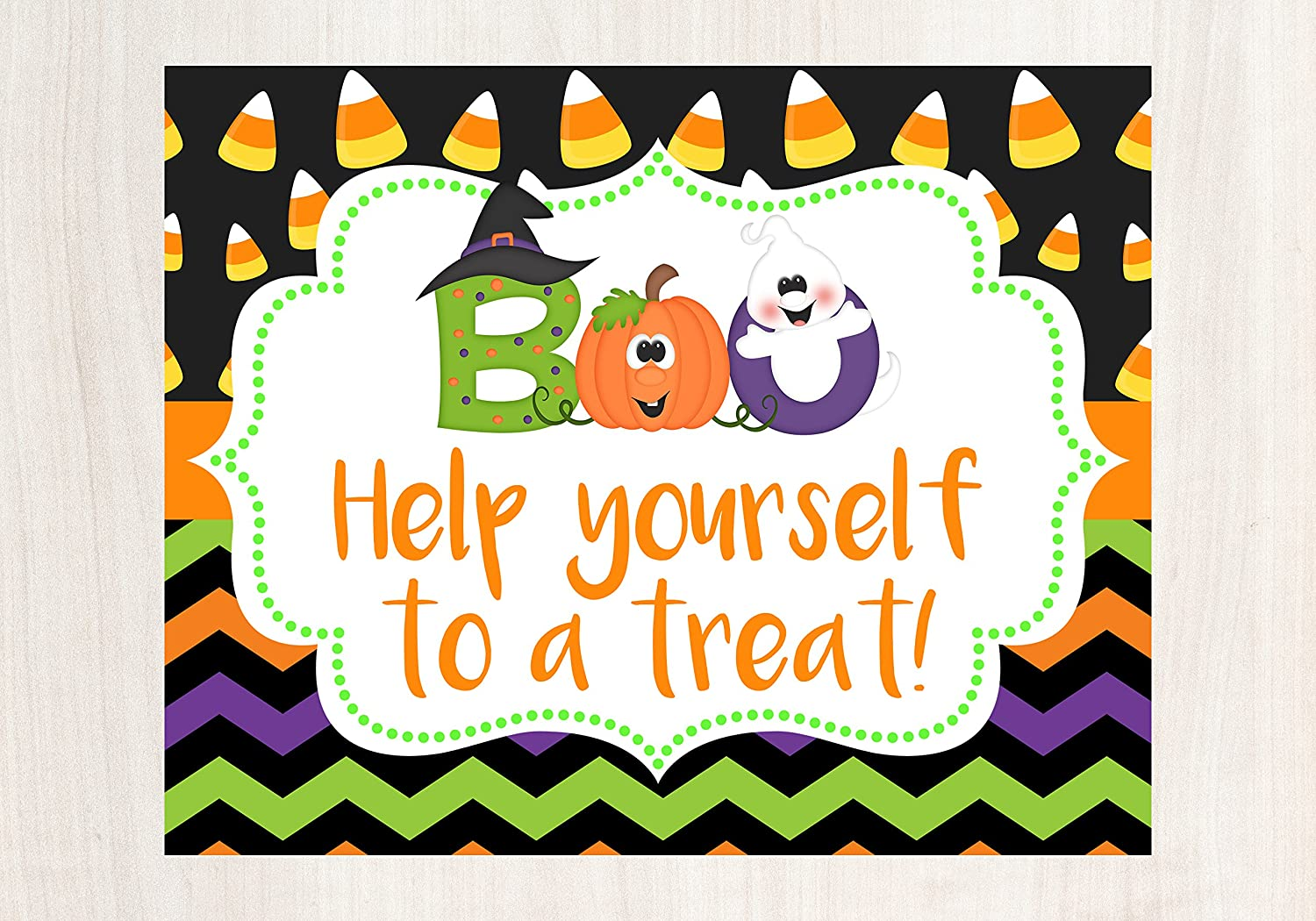 Halloween Porch Decorations, Halloween Sign, Help Yourself Sign, Halloween Porch Sign, Trick or Treat Sign, Glossy 8x10 Sign