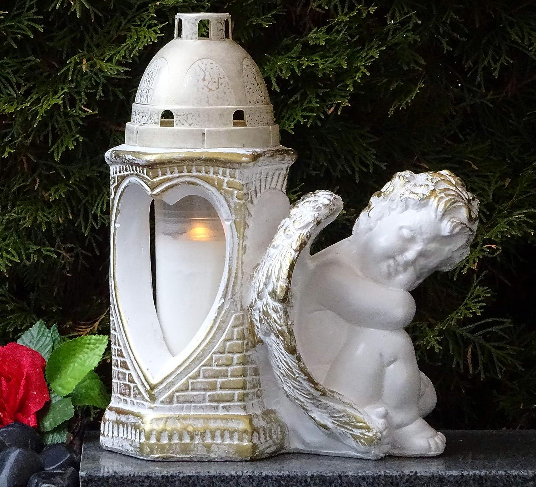 /♥ Grablaterne Grablampe Engel Schutzengel Herz mit Grabkerze 30,0cm Grabschmuck Grablicht Grablampe Grableuchte Grabkerze Laterne Grabdekoration
