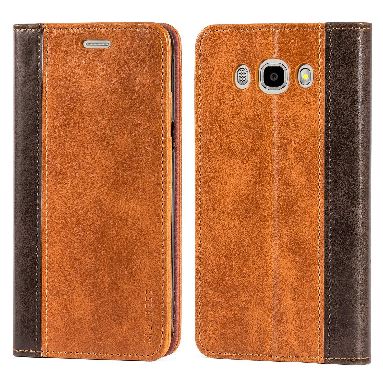 Mulbess Cover Samsung Galaxy J5 (2016) Custodia In Pelle Con Supporto per Samsung Galaxy J5 (2016) / J5 Duos 2016 Custodia Pelle, Cioccolato Marrone