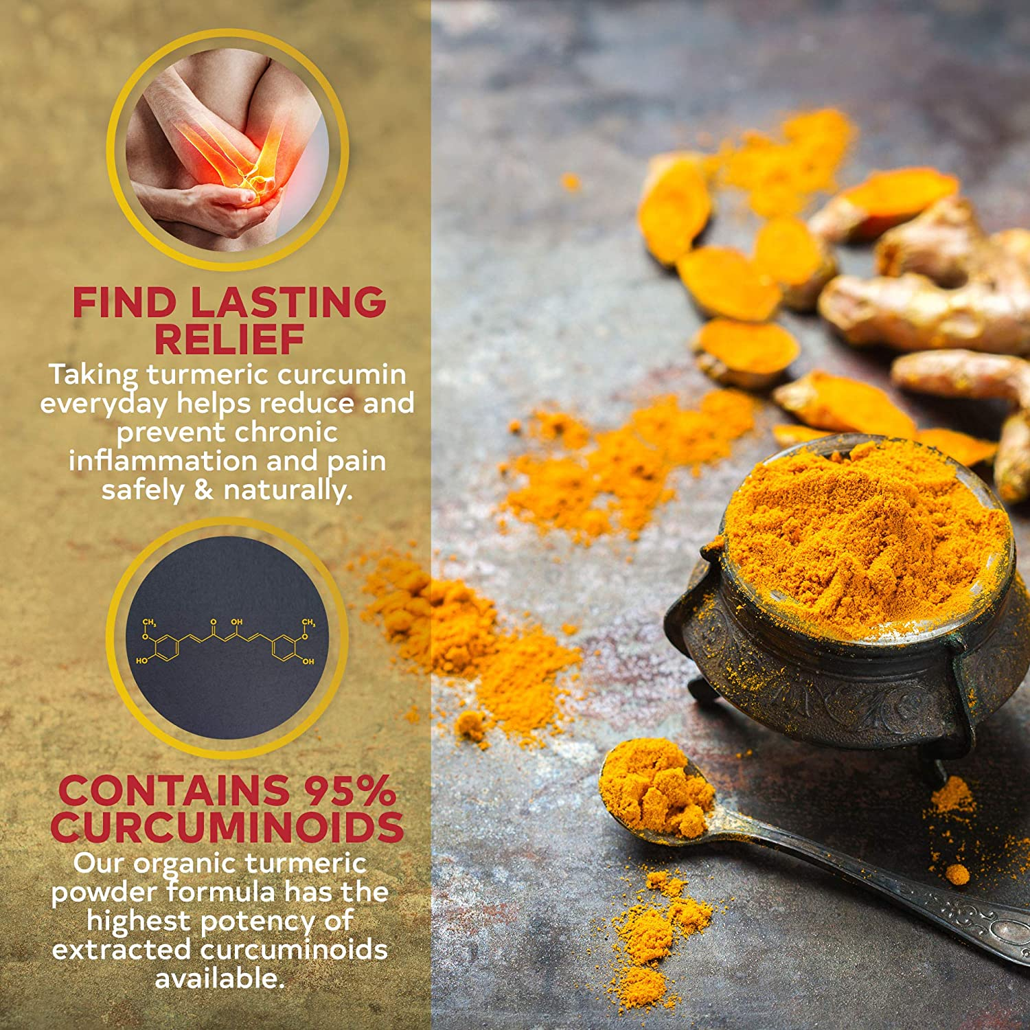Organic Turmeric Curcumin with BioPerine - Potent Anti-Inflammatory - Contains 95% Curcuminoids and Black Pepper Extract for Fast Absorption - 1500 Milligram Vegan Capsules - 40 Day Supply: Health & Personal Care