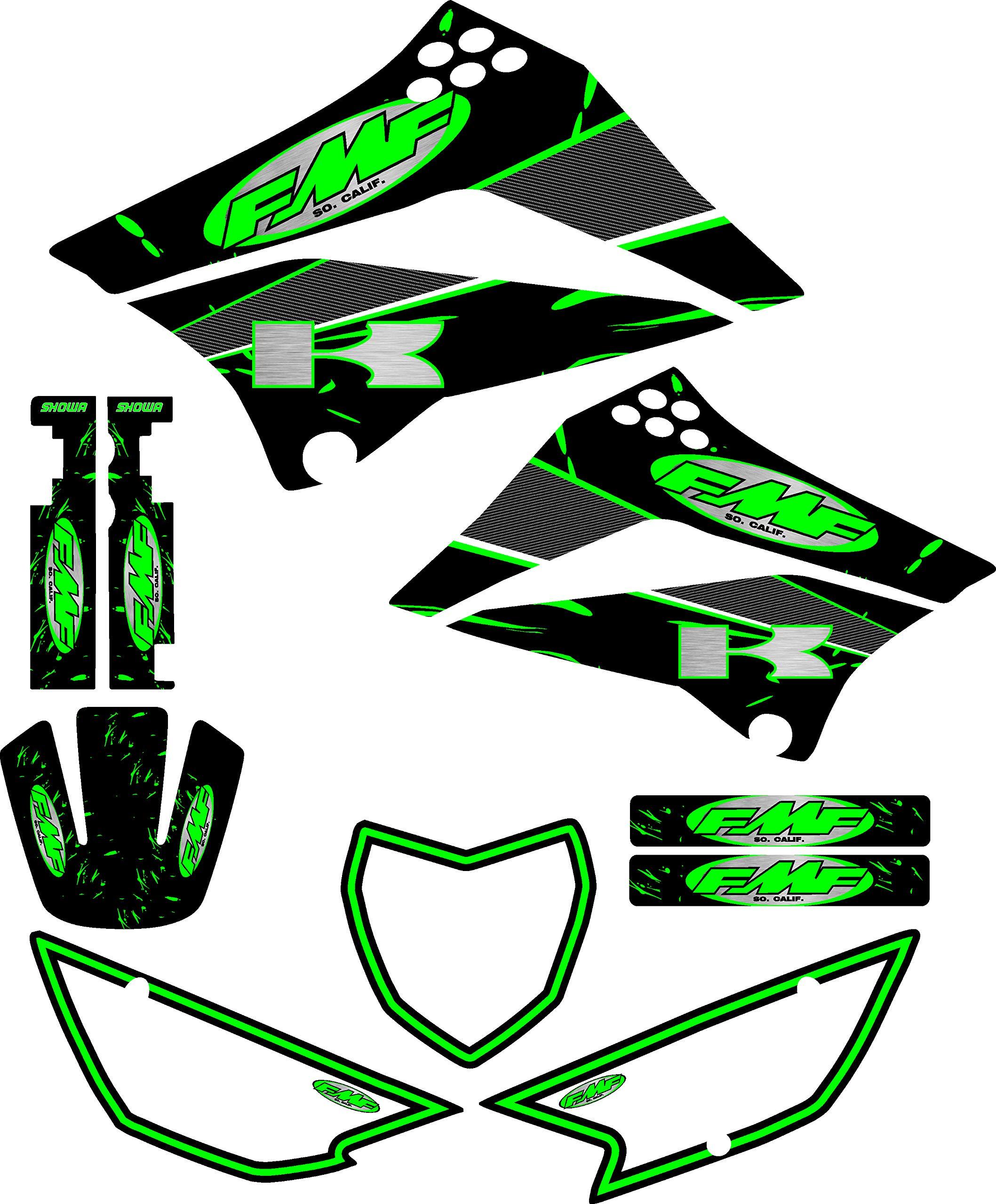 FMF Exhaust Graphics fit Kawasaki KLX 110 10-18 Graphic Kit Sticker KLX110 Green