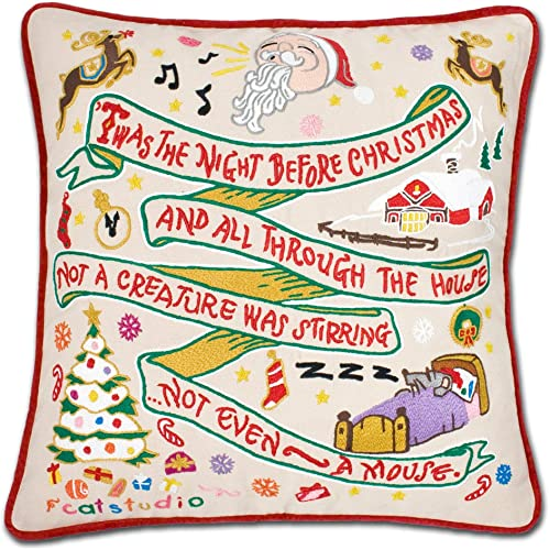 Catstudio Night Before Christmas Embroidered Decorative Throw Pillow
