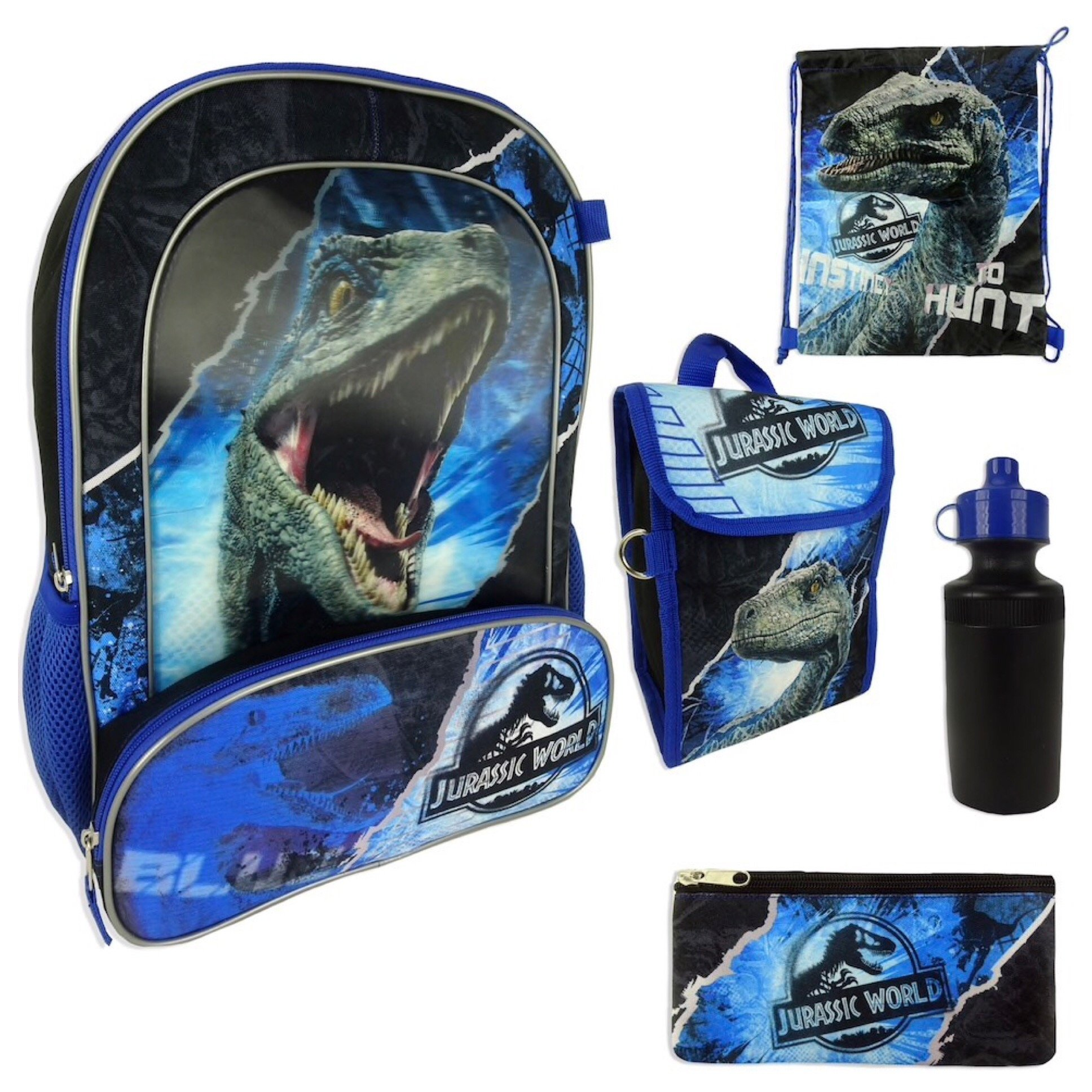 Jurassic World Backpack, Lunchbox, Cinch Sack, Pencil Case & Water Bottle Set by Jurassic World