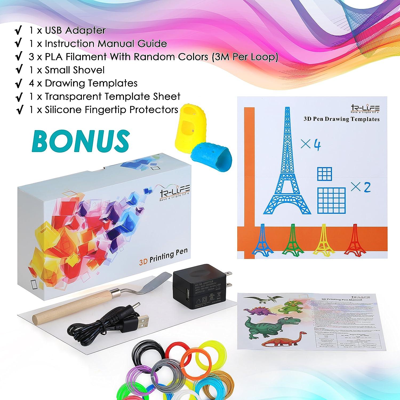 3d mascota olímpica - Bolígrafo 3d Printing Pen 4.0 versión - no tóxico - no zuecos - un botón funcionamiento Comes W/4 dibujo plantillas + 3 Pla filamento ...